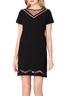 Tahari ASL Crepe and Mesh Illusion Shift Dress
