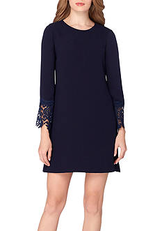 Tahari ASL Long-Sleeve Shift Dress with Lace Hem