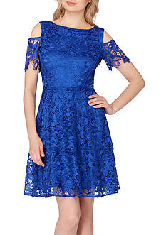 Tahari ASL Lace Cold Shoulder Dress