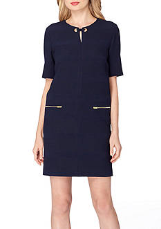 Tahari ASL Short Sleeve Keyhole Shift Dress