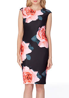 Tahari ASL Sleeveless Floral Sheath Dress