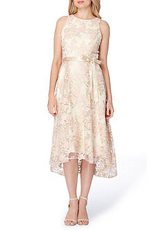 Tahari ASL Sleeveless Embroidered Tie Waist Dress
