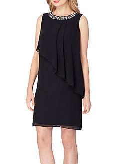 Tahari ASL Sleeveless Asymmetrical Shift Dress
