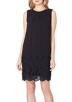 Tahari ASL Sleeveless Floral Embroidered Shift Dress
