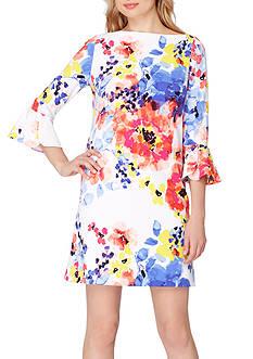 Tahari ASL Floral Printed Bell-Sleeve Shift Dress