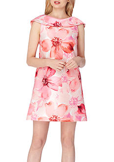 Tahari ASL Shawl-Collar Floral Printed Shift Dress