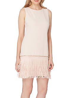 Tahari ASL Fringe Hem Shift Dress