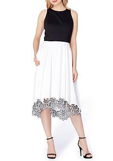 Tahari ASL Colorblock T-length Fit and Flare Dress