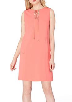Tahari ASL Lace-Up Neckline Shift Dress