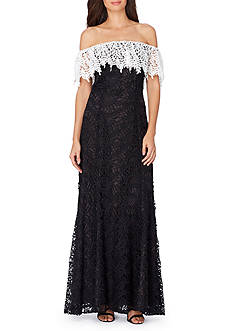 Tahari ASL Chemical Lace Cold-Shoulder Gown