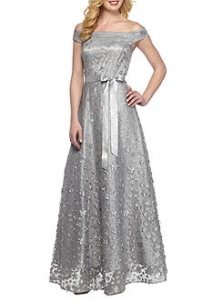 Tahari ASL Off the Shoulder Gown with Sequin