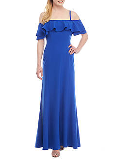 Tahari ASL Ruffle Cold-Shoulder Gown
