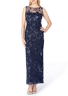 Tahari ASL Embroidered Mesh Column Gown