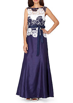 Tahari ASL Sleeveless Lace Bodice Gown