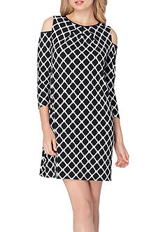 Tahari ASL Cold-Shoulder Printed Shift Dress