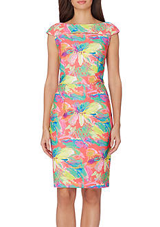 Tahari ASL Short Sleeve Tropical Floral Scuba Sheath Dress