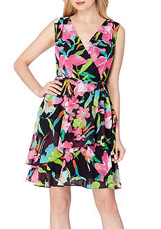 Tahari ASL Floral Faux Wrap Dress
