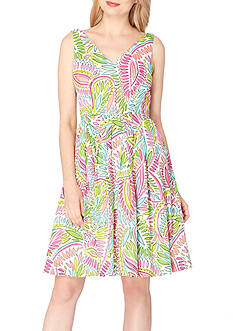 Tahari ASL Printed Fit-and-Flare Dress