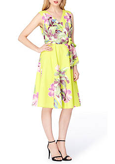 Tahari ASL Floral Printed Faux Wrap Dress