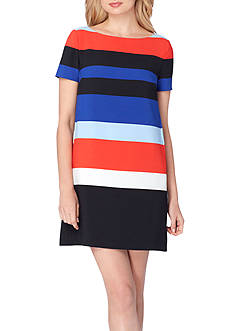 Tahari ASL Short Sleeve Striped Shift Dress