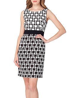 Tahari ASL Contrast Print Crepe Dress