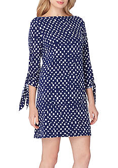 Tahari ASL Three-Quarter Sleeve Jersey Shift Dress