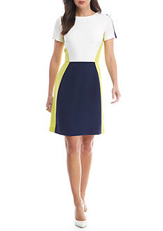 Tahari ASL Short Sleeve Crepe Fit and Flare Dress