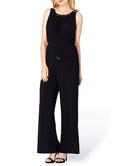 Tahari ASL Embellished Neck Jumpsuit