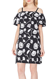Tahari ASL Cold Shoulder Embroidered Shift Dress