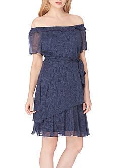 Tahari ASL Off-the-Shoulder Polka Dot A-Line Dress