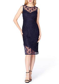 Tahari ASL Asymmetrical Lace Sheath Dress