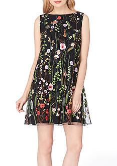 Tahari ASL Embroidered Floral Shift Dress