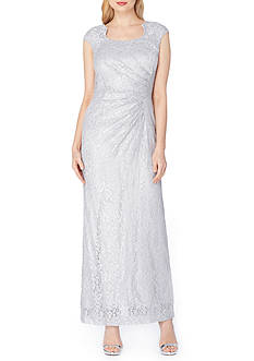 Tahari ASL Drape Neck Metallic Gown