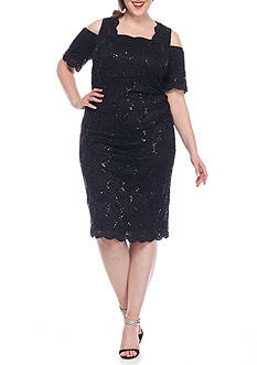 RM Richards Plus Size Cold Shoulder Lace Cocktail Dress