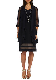 RM Richards Sheer Panel Drape Jacket Dress