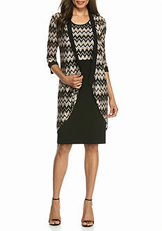 RM Richards Chevron Printed Elongated Jacket Dress