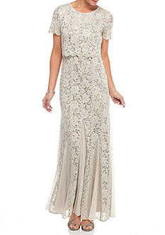 RM Richards Lace and Sequin Popover Gown
