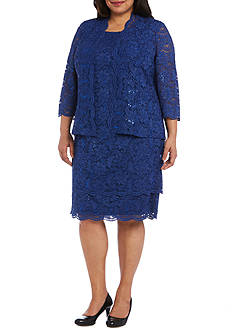 RM Richards Plus Size Two-Piece Scalloped Trim Jacket Dress