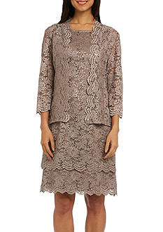 RM Richards Two-Piece Scalloped Trim Tiered Jacket Dress