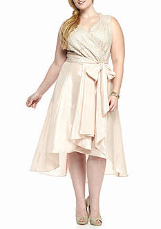 RM Richards Plus Size Metallic Lace Bodice Taffeta Dress
