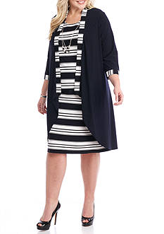RM Richards Plus Size Striped Jacket Dress with Necklace