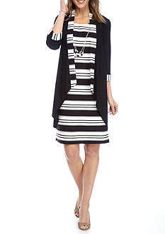 RM Richards Striped Jacket Dress with Necklace