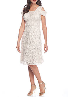 RM Richards Cold Shoulder Lace and Sequin Fit and Flare Dress