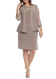 RM Richards Plus Size Glitter Trim Jersey Jacket Dress
