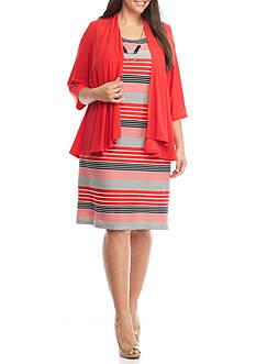 RM Richards Plus Size Striped Jacket Dress