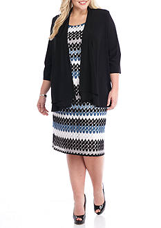 RM Richards Plus Size Lace Mock Jacket Dress