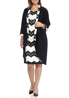 RM Richards Plus Size Elongated Jacket Dress with Necklace