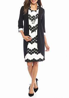 RM Richards Elongated Jacket Dress with Necklace