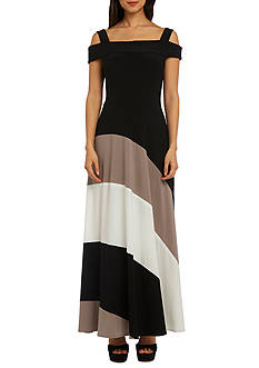 RM Richards Cold Shoulder Color Block Maxi Dress
