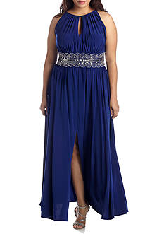 RM Richards Plus Size Plus Size Beaded Waist Halter Gown